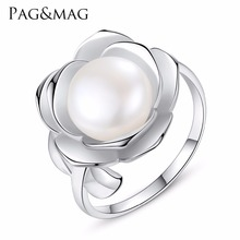 PAG&MAG 100% Real freshwater Pearl Ring With 925 sterling silver adjustable ring big Size 10mm AAAA Natural Pearl Jewelry