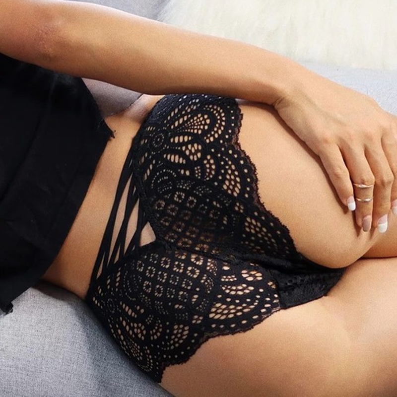 Sexy Underwear Hollow Out Cross Lace Up Thongs and G String Women Panties Elastic Lace Bandage Transparent Black Briefs Strings