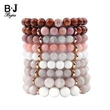 BOJIU Bohemia Natural Stone Bracelet For Men Women Pink Gray Quartz River Wood Beads Strand Unisex Jewelry BC244
