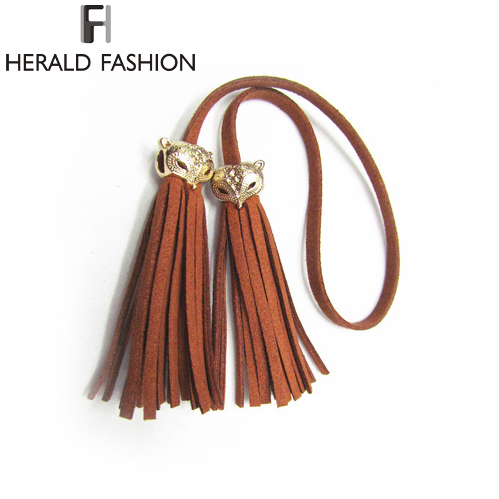 Herald Fashion Women Bag Adornment Ornament Tassel Fringe PU Leather Pendant For Bag Purse Buckle Handbag Female Accessories stylish multilayer pu leather tassel pendant necklace for women