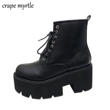 lace up punk boots botines mujer high heel ankle winter shoes motorcycle women waterproof snow YMA488