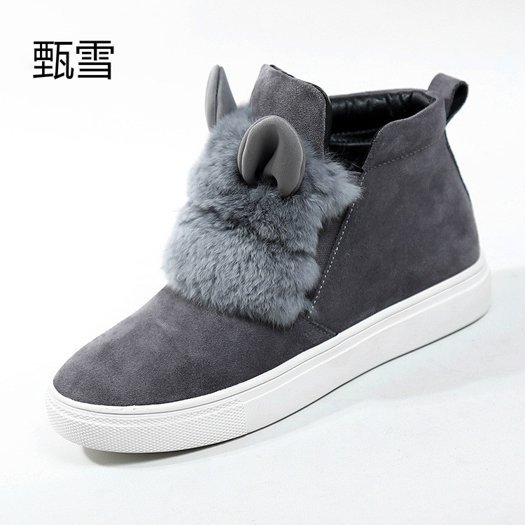 2017, Autumn And Winter Hot, Happy Boots, Female Rabbit Ears, Plush Shoes Sets, Feet Lazy Shoes, Short Cylinder, Casual boots