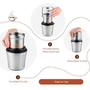 Image 5 - Macinacaffè elettrico Easehold 200W corpo in acciaio inossidabile grande capacità per macinacaffè sale macinacaffè potente