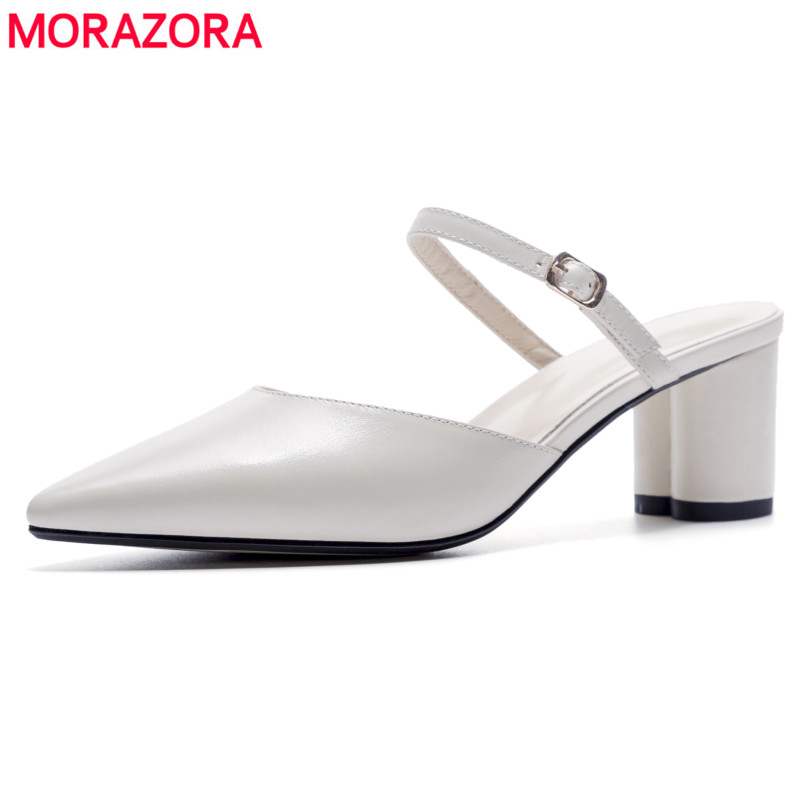 MORAZORA Genuine leather sandals women shoes pointed toe fashion Mary Jane thick high heels ladies fashion summer ladies mules flats slippers suede pink sandals mary jane genuine leather pointy summer slides designer shoes women luxury 2018 mules gray