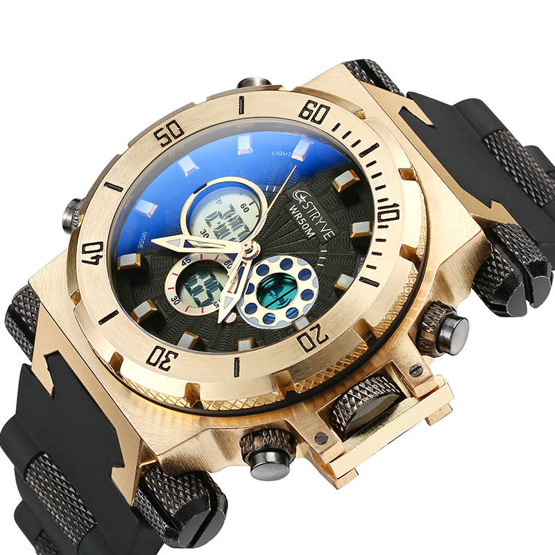 5ATM Waterproof Stryve S8015 Mens Diving watches Sport Brand Luxury Led Digital Waterproof white Wrist Watch Relogio Masculino