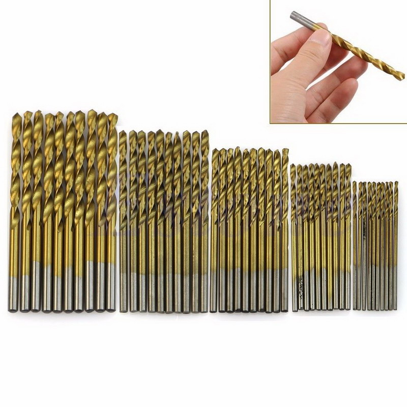 50Pcs/Set Twist Drill Bit Set Saw Set HSS High Steel Titanium Coated Drill Woodworking Wood Tool 1/1.5/2/2.5/3mm For Metal 15 pieces titanium coated hss twist drill bit set with 1 4 hex shank for wood metal power tool 3 0 5 0mm black hemp screw drill