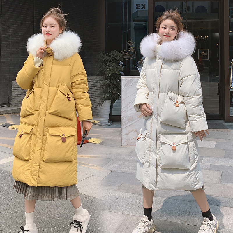 Long down cotton jacket women coat 2019 winter new down parkas womens thicken warm down cotton coats female hooded women jackets