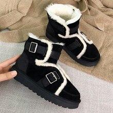 975a8658e58 Hebillas de decoración de piel botas de mujer resbalón en pisos casuales  plataforma invierno botas de