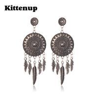 Kittenup Dream Catcher Hollow Vintage Leaf Feather Dangle Earrings For Women Bohemia  Earring Indian Jewelry