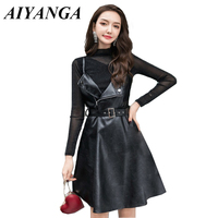 Spring 2019 Women PU Leather High Waist A line Belted Dress See through Shiny Pullovers Long Sleeve Two piece Set Ladies Dresses
