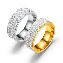 8mm Size 5.5-12.5 Classic Stainless Steel Silver Gold Concise CZ Crystal Wedding Ring For Women