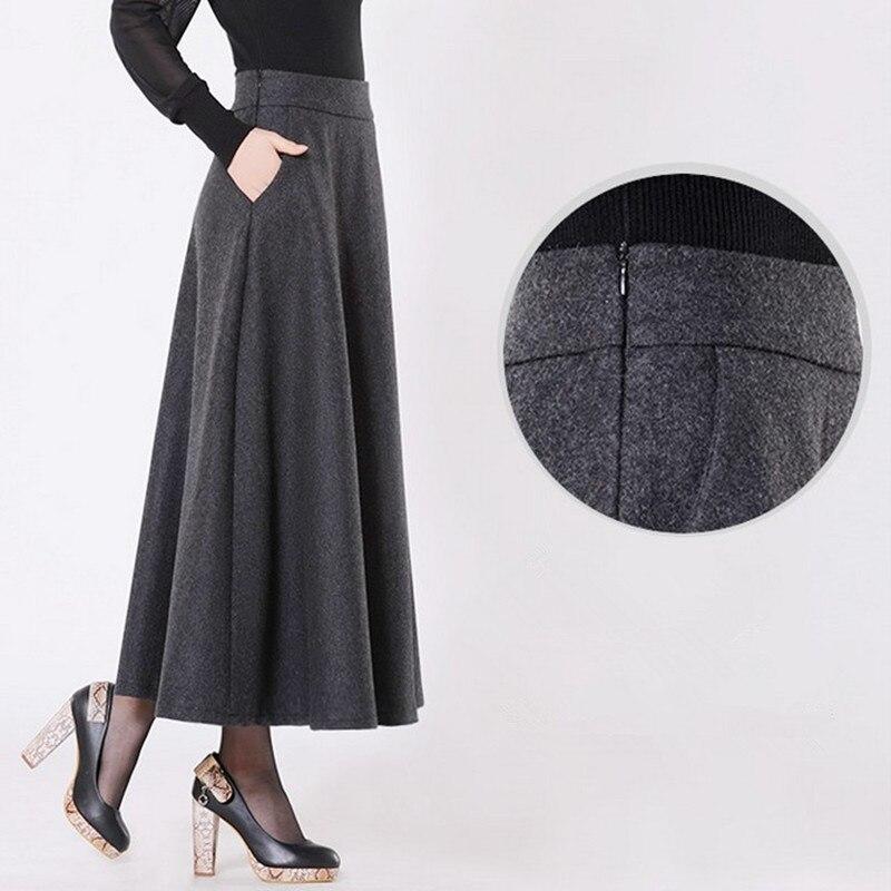 Бесплатная доставка 2018 новые индивидуальные длинные макси толстые трапециевидные юбки для женщин плюс размер XS-10XL индивидуальные зимние ш...