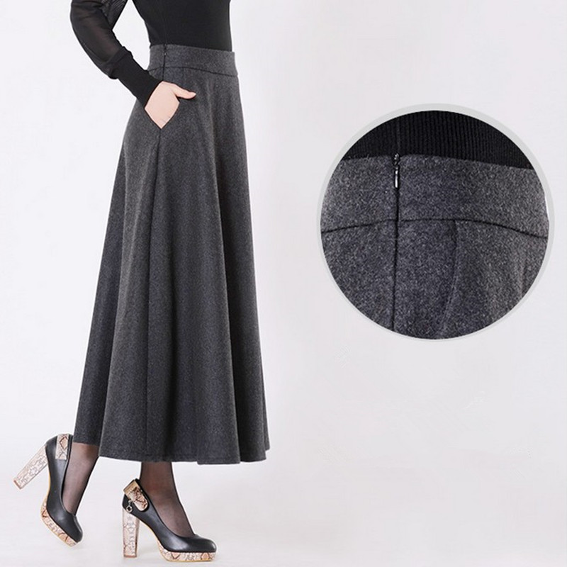 Free Shipping 2019 New Customized Long Maxi Thick A-line Skirts For Women Plus Size XS-10XL Customized Winter Woolen Skirts Warm
