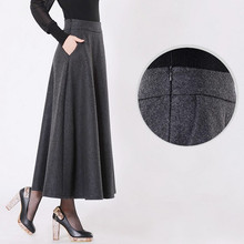 Free Shipping 2019 New Customized Long Maxi Thick A line Skirts For Women Plus Size XS 10XL Customized Winter Woolen Skirts Warm