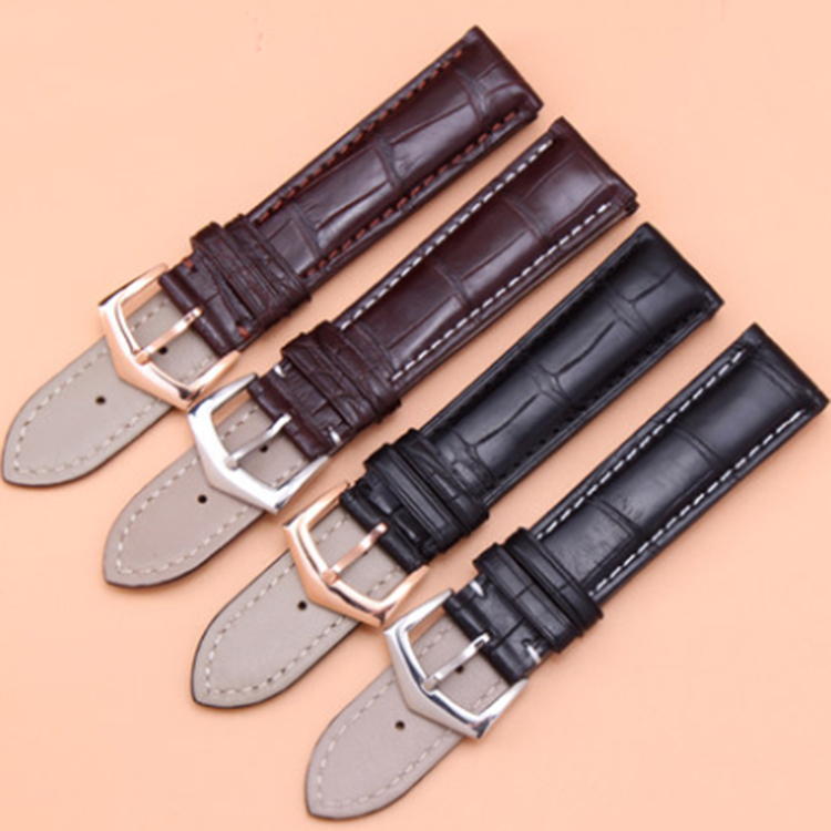 Luxury Brand Style Alligator Leather Watchband metal Buckle Straps Bracelet For men Wristwatch Accessories 18mm 19mm 20mm 22mm alligator leather watchband brand style straps bracelets wristwatches accessories with free buckle deployment 20mm 21mm 22mm new