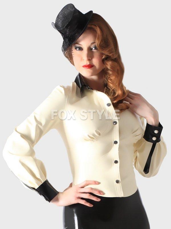 Women 's Latex shirts tops Rubber School Mistress Blouse rubber latex coat