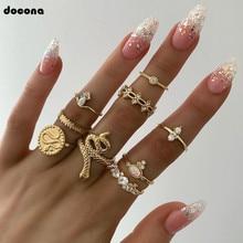 цены на docona 9pcs/set Boho Gold Colorful Crystal Snake Geometric Knuckle Midi Ring Set for Women Wedding Party Jewelry Anillos 7054 в интернет-магазинах