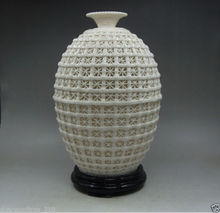 Chinese Decoration Handwork Carved openwork Dehua White Porcelain Vase & Base