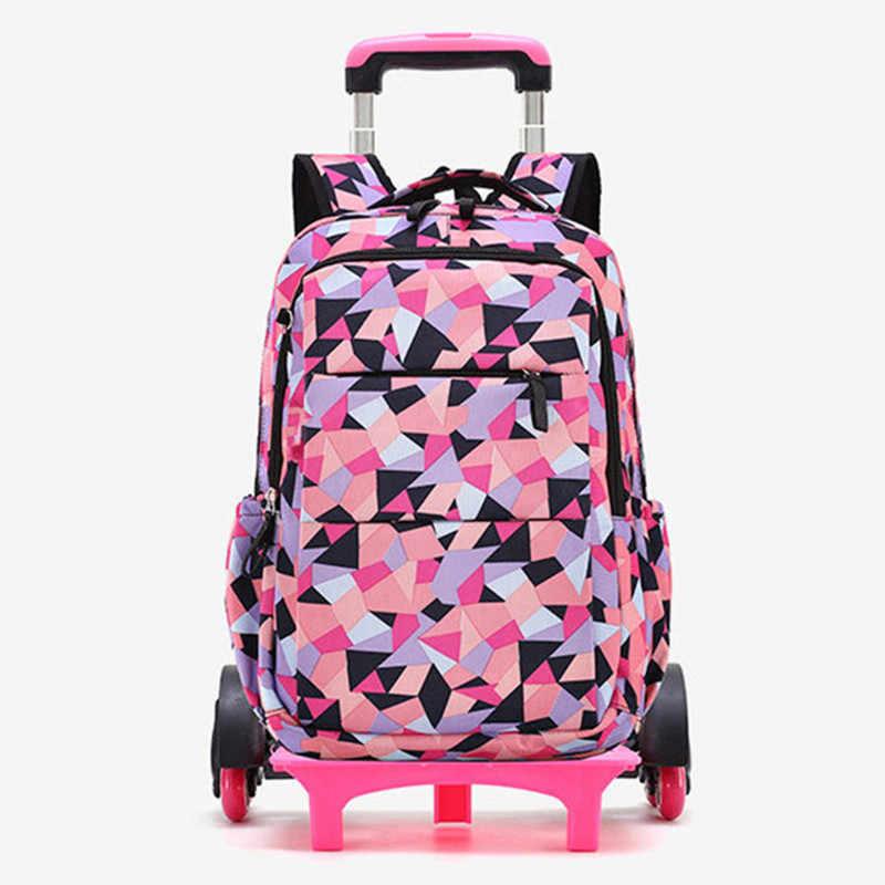 Novo removível crianças sacos de escola com 2/6 rodas para meninas meninos trole mochila crianças escalada escadas rodas mochila