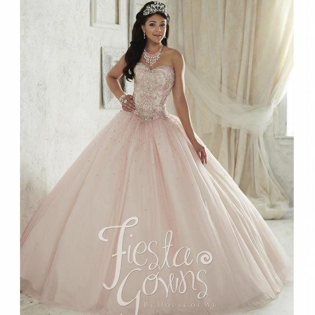 Light Pink Blush Vestido de Quinceanera 2016 Sweet 16 Vestidos de Tul Rhinestone Niñas Vestido de Debutante Vestidos De 15 Anos QD14