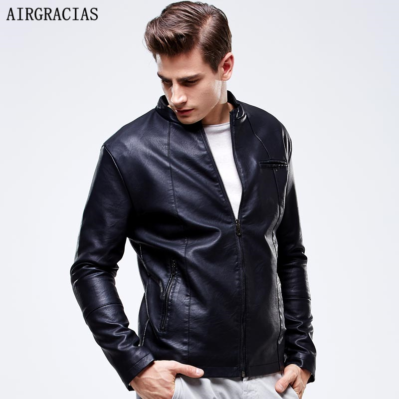 AIRGRACIAS New Fashion PU Leather Jackets Men's Black Red Brown Solid Winter Men Fur Coats Teens Motorcycles Suede Jackets 8603