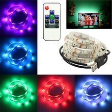 Hot LED TV Backlight Kit USB 5V 2M SMD5050 RGB Color Changing Strip Lights with 24 Keys Remote Control PLD(China)