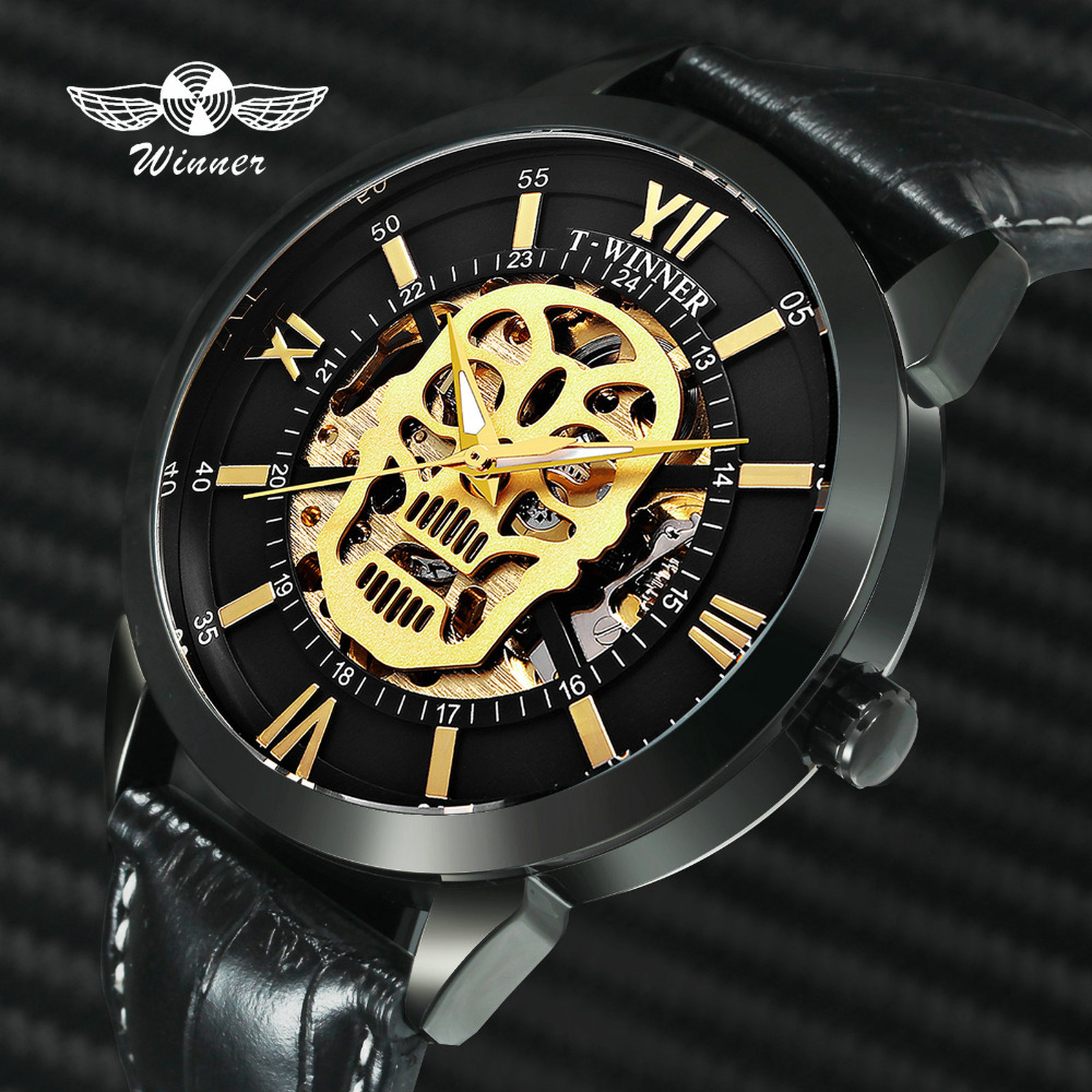 WINNER Royal Men Watch Golden Skeleton Skull Auto Mechanical Genuine Leather Strap Steampunk Dress Mens Watches Top Brand LuxuryWINNER Royal Men Watch Golden Skeleton Skull Auto Mechanical Genuine Leather Strap Steampunk Dress Mens Watches Top Brand Luxury