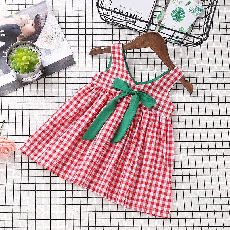 new toddler girls dress Red white Plaid Bow suspender jumper braces dresses kids girl summer 2018 clothes 2 3 4 5 6 years old