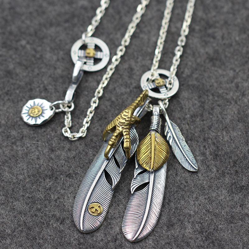 Retro Thai Silver Eagle Feather Brass Shell Pendant S925 Sterling Silver Tai Kok Necklace Chain Takahashi Goro High-end NecklaceRetro Thai Silver Eagle Feather Brass Shell Pendant S925 Sterling Silver Tai Kok Necklace Chain Takahashi Goro High-end Necklace