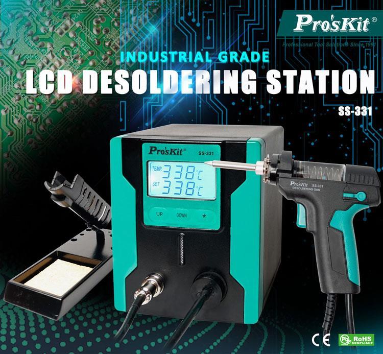 Pro'sKit SS-331H ESD LCD numérique BGA dessoudage aspiration électrique absorber pistolet électrique vide pompe à dessouder soudure ventouse pistolet