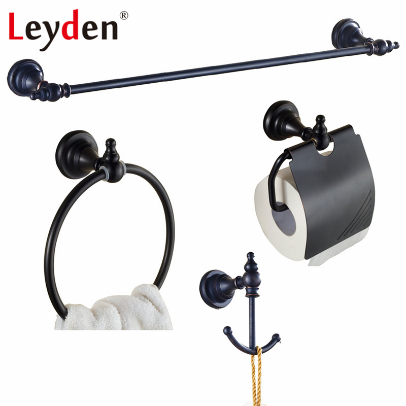 Leyden Oil Rubbed Bronze Brass Black Towel Bar Toilet Paper Holder Towel Ring Robe Hook Classical Wall Mounted Bath Hardware Set ceramic oil rubbed bronze crystal hanger towel rack holder single towel bar new