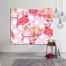 Flamingo Tapestry Wall Hanging Tropical Plant Printed Macrame Tapestry Bohemia Polyester Home Decor Shawl Blanket Yoga Mat home decor flamingo wall tapestry