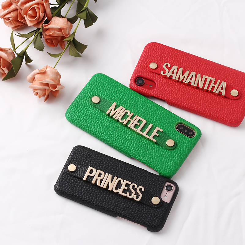Holding Strap Metal Personalization Your Name Pebble Grain Leather Phone Case For iPhone 11 Pro 6S