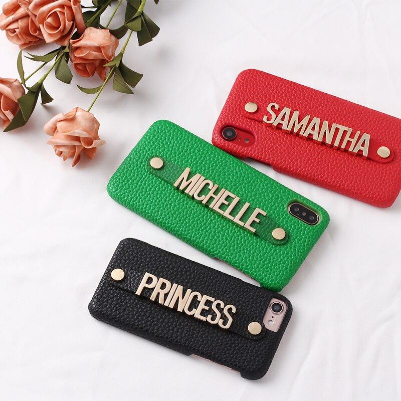 Segurando cinta de metal personalização seu nome seixo grão couro caso do telefone para o iphone 11 pro 6 s xs max xr 7 mais 8 8 plus x
