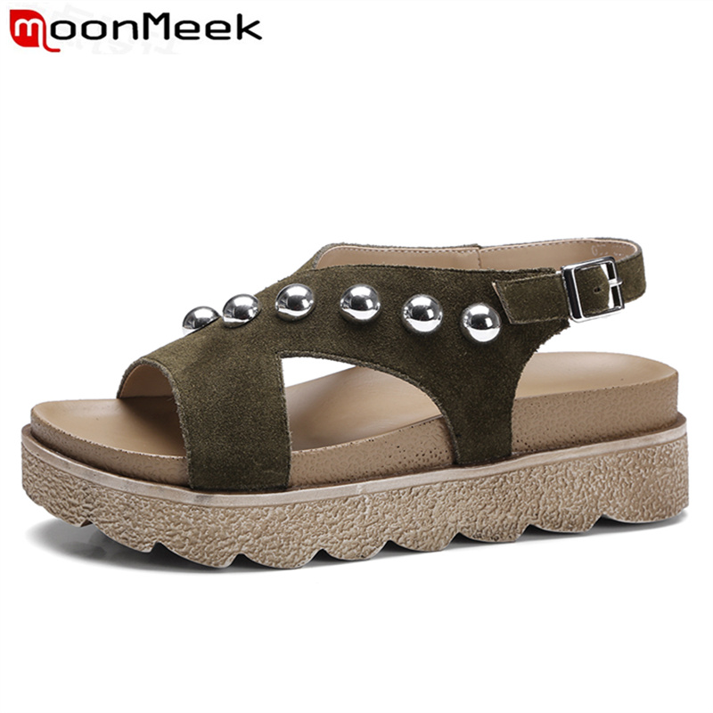 ФОТО MoonMeek 2017 new arrive sandals for Women elegant fashion simple summer shoes solid buckle metal decoration college style