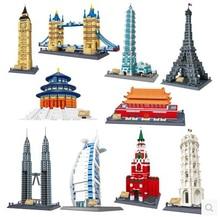 WANGE 8011-8021 Toy building blocks World famous buildings Series Big Ben Eiffel Tower gift Bricks
