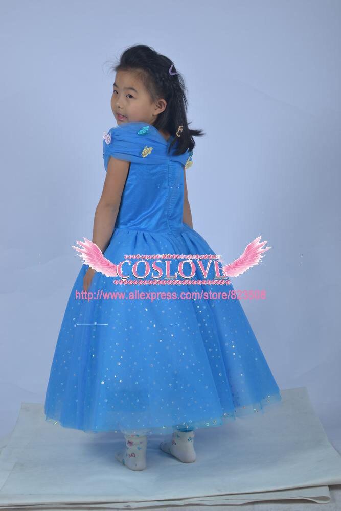 2017 Kid Blue Princess Cinderella suknelė Cosplay kostiumas Party - Karnavaliniai kostiumai - Nuotrauka 3