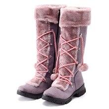 High Quality Thick Plush Winter Zipper Shoes Woman Long Boots Add Warm Fur Mid  Platform Lace Up
