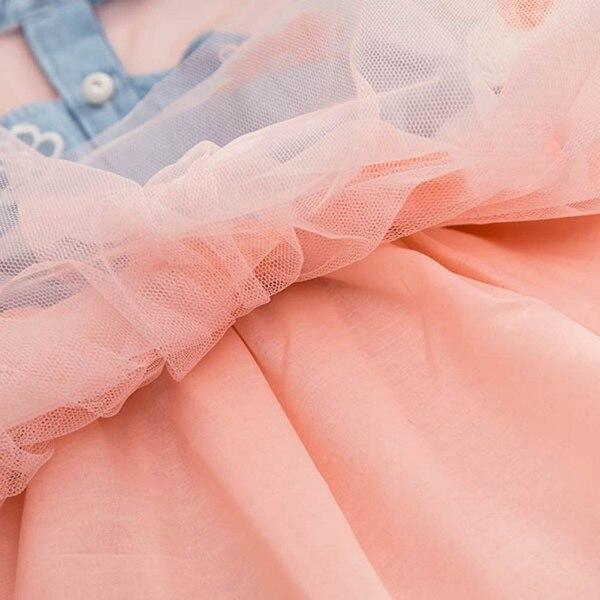 Summer Girls Cute Princess Dress Children Baby Kids Denim Shirt Tulle Tutu Dress Clothes 2-7T 16