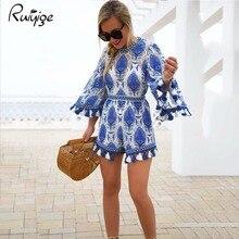 2017 flare рукавом женщины комбинезоны кисточкой комбинезон женщины комбинезон синий цветочный узор свободные леди одежда летний пляж playsuit
