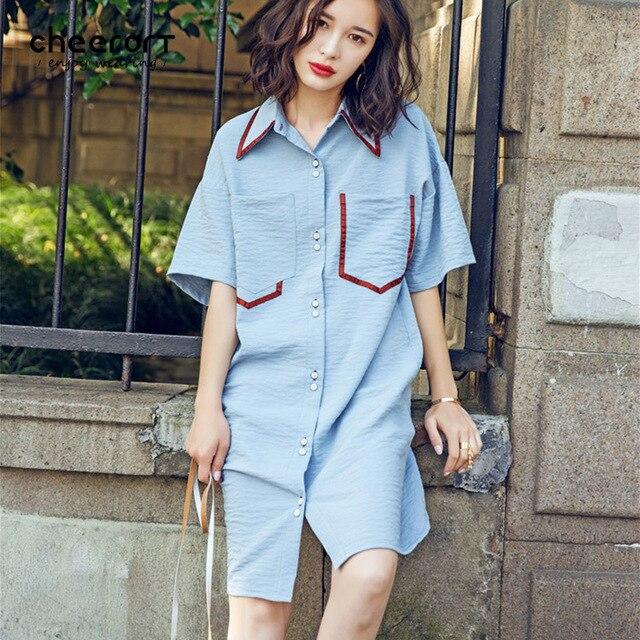 5800068d2d7f Cheerart 2017 Summer Blue Collar Shirt Dress Women Loose Drape Button Up  Pocket Casual Korean Dress Knee Length Fashion Clothing