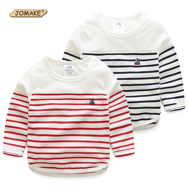 2017 Nueva Primavera Traje de Los Muchachos Camiseta A Rayas de Calidad Superior Lindo Bordado Velero Niños Camisetas Niños Tops Ropa Del Bebé