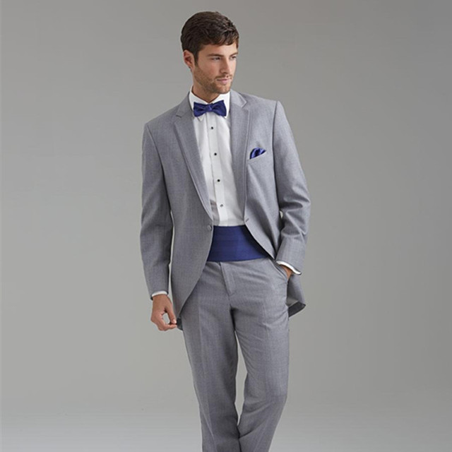 High Quality Men Light Gray Suits Notched Lapel Tailcoat Groom ...