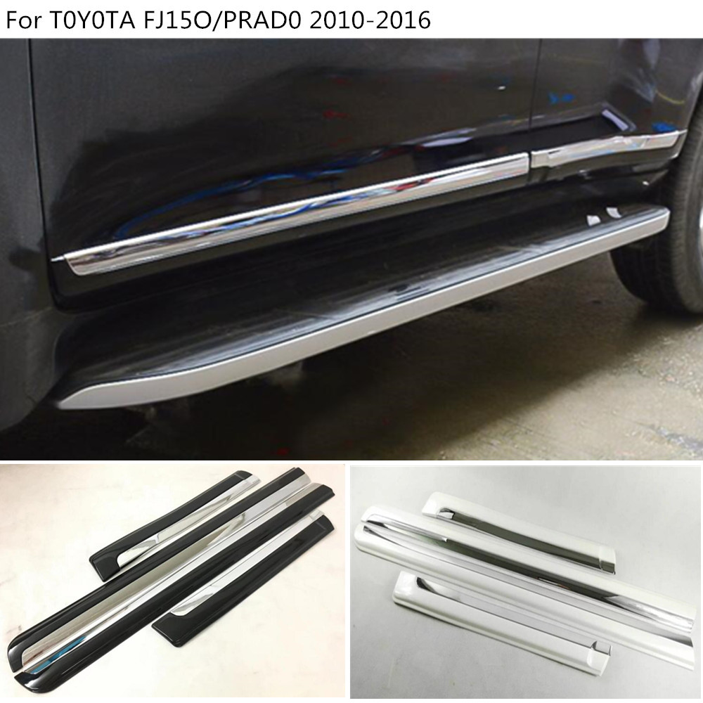 Car Side Door trim Strip Molding Stream panel bumper hoods 4pcs For Toyota FJ150 / Prado 2010 2011 2012 2013 2014 2015 2016