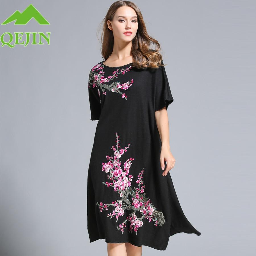 4dacdbf0f5ef Women's wool dress winter w Embroidery flower short sleeve Long Loose style  Dress fashion knitted wool outwear Black Gray