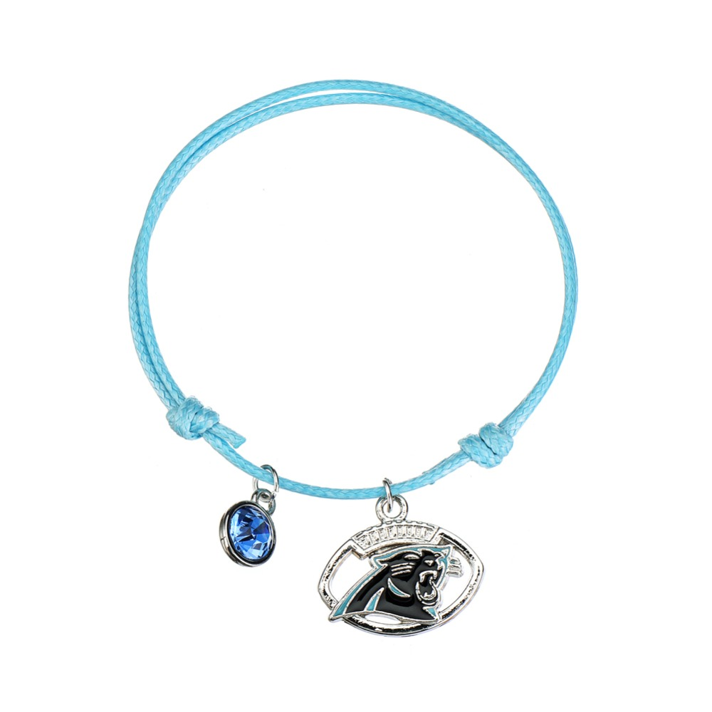 Football Team Logo Carolina Panthers Birthstone Charms Bracelet
