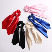 CN Hair Accessories Bow Scarf Scrunchies Rubber Solid Chiffon Ribbon Elastic Bands For Women Girls Dual Use Rope