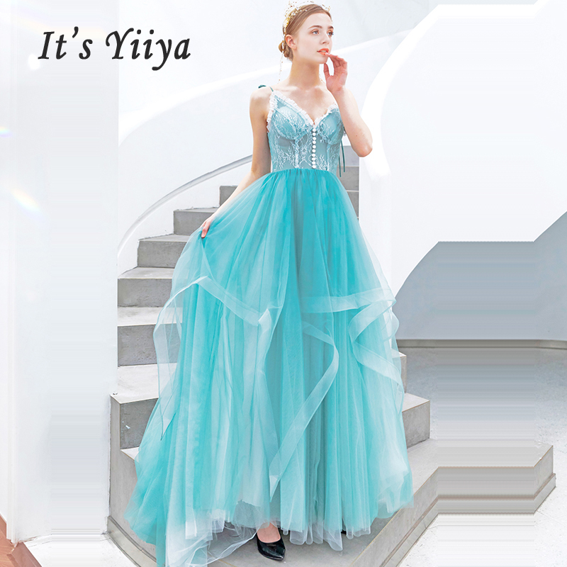 It's Yiiya Evening Dress V-neck Tiered Women Party Dresses 2019 Long Plus Size Robe De Soiree Spaghetti Strap Evening Gowns E641