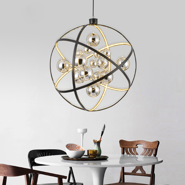 Postmodern Solar System Design Chandelier Creative Stainless Steel Ring Gl Ball Restaurant Decoration Led Adjule Lighting