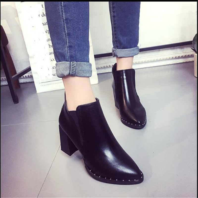 Female British style Martin boots Winter High Heel shoes women Pointed Short Thick With Boot Women's Shoe ankle